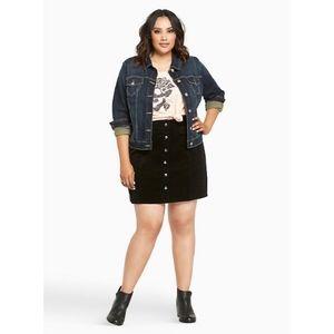 Torrid Black Corduroy A-Line Mini Skirt Back Zip